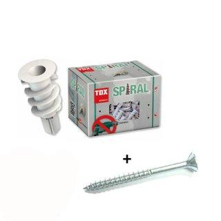 TOX Gipskartondübel Spiral mit Schraube / 32 mm / 50 Stück