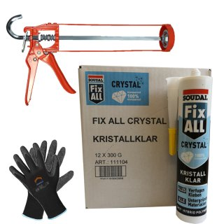 SOUDAL Fix All Crystal 12 x 300g + Skelettpistole + Finegrip Handschuh