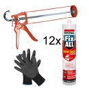 SOUDAL Fix All High Tack CLEAR 12 x 305g + Skelettpistole...