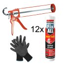 SOUDAL Fix All High Tack GRAU 12 x 420 g + Skelettpistole...